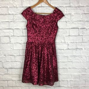 9a9127f61f Red Sequin Cap Sleeve Plunge Back Party Dress